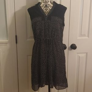 Esley Button Front Shirt Dress with Hearts